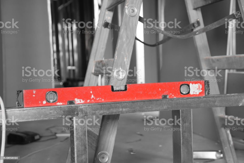 magnetic  Leveler at construction site stock photo