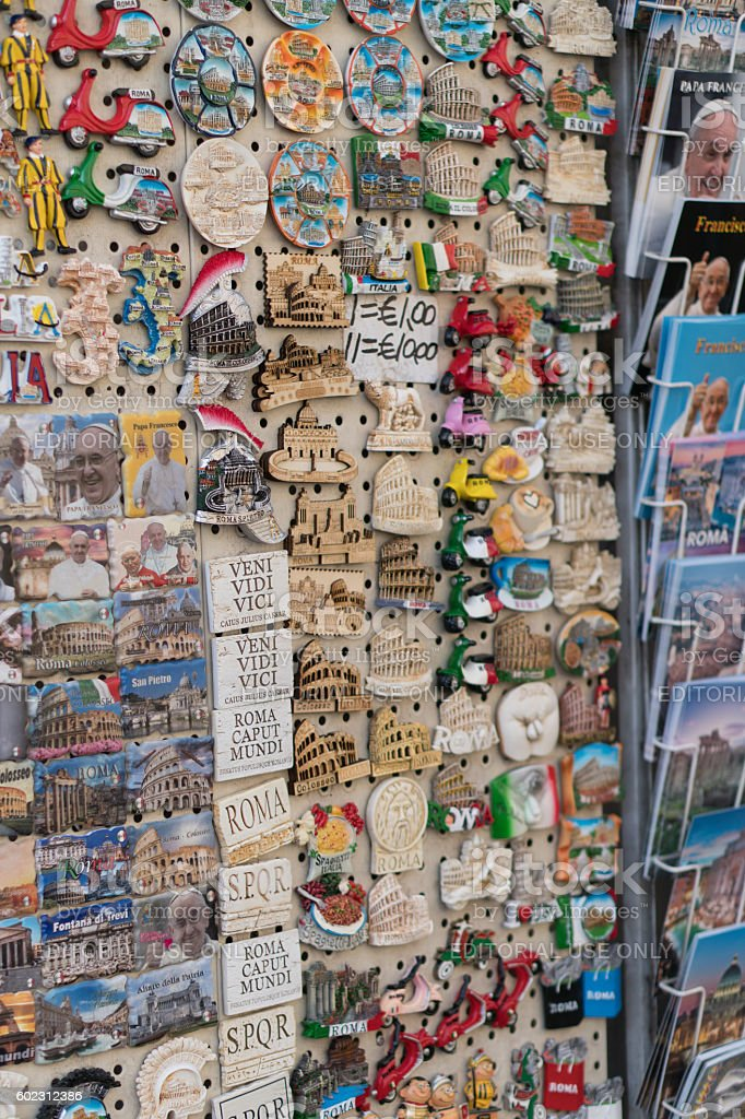 Rome, Italy - July 8, 2016: magnets and postcards stock photo