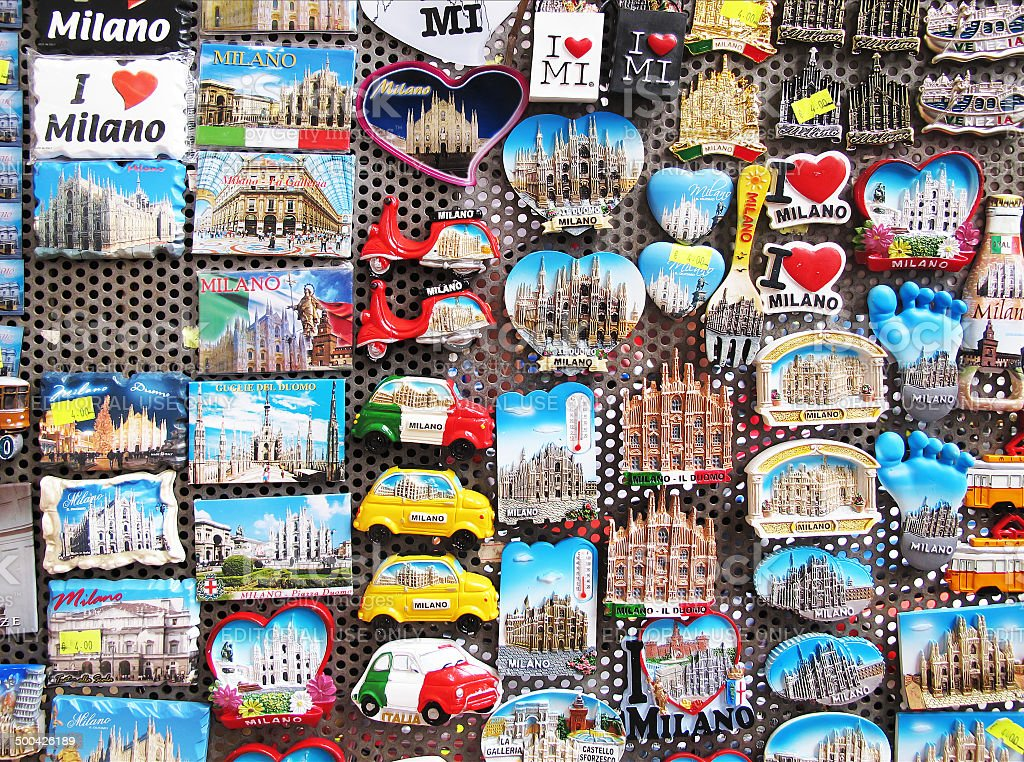 Magnets for tourists in Milan stock photo