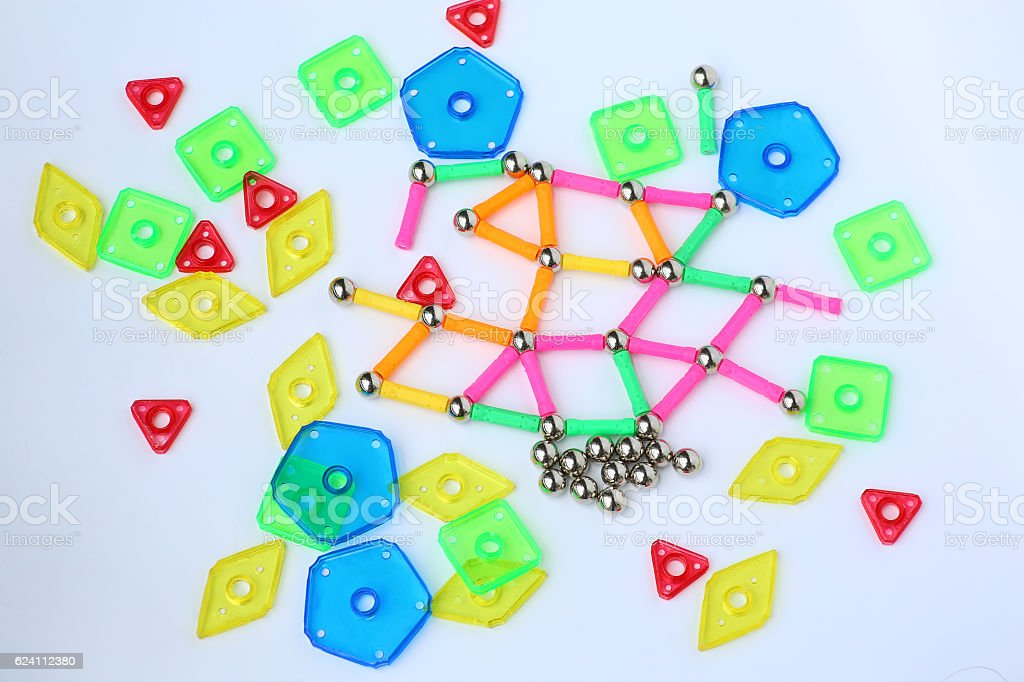 Magnets toy for child brain development on white background stock photo