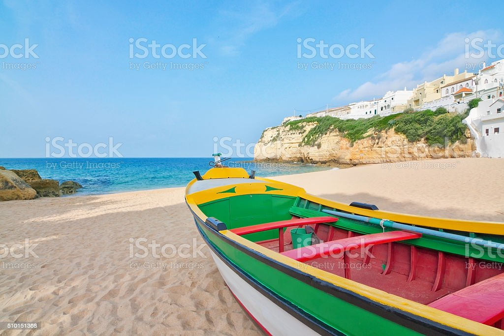 Magnificent beach on the coast of Portugal at Villa Carvoeiro. stock photo