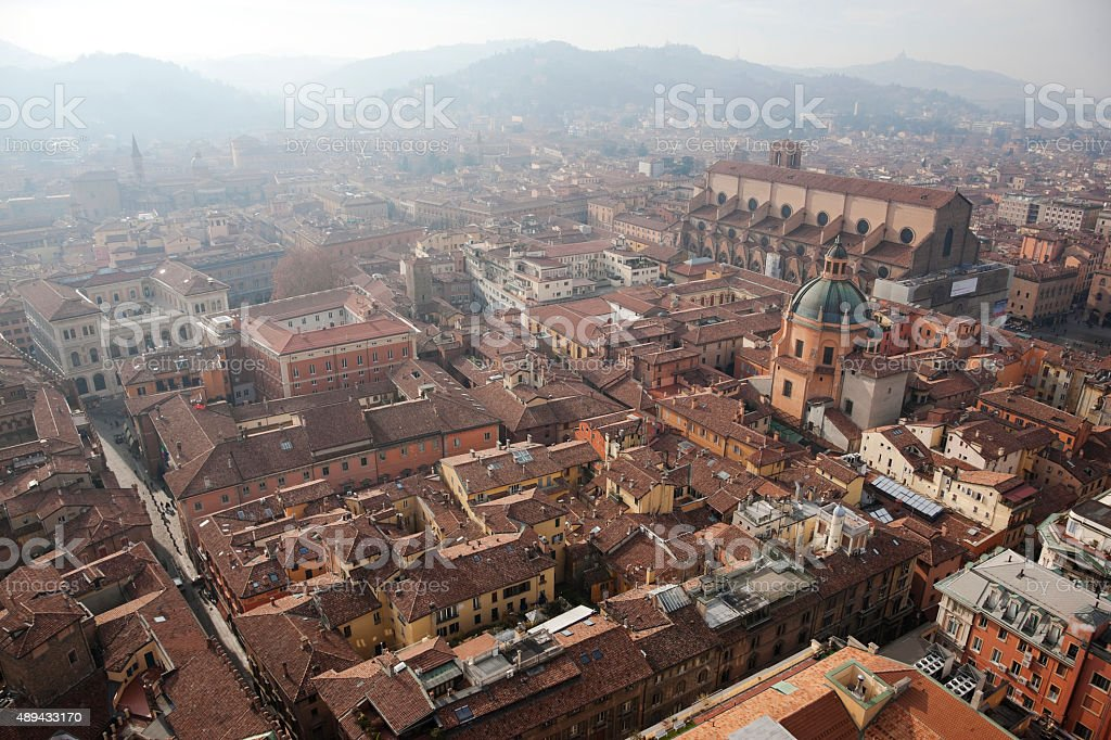 Magnificent Bologna from above stock photo