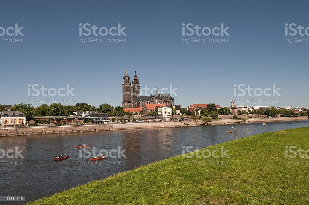 Magnificent Cathedral of Magdeburg at river Elbe, Germany stock photo