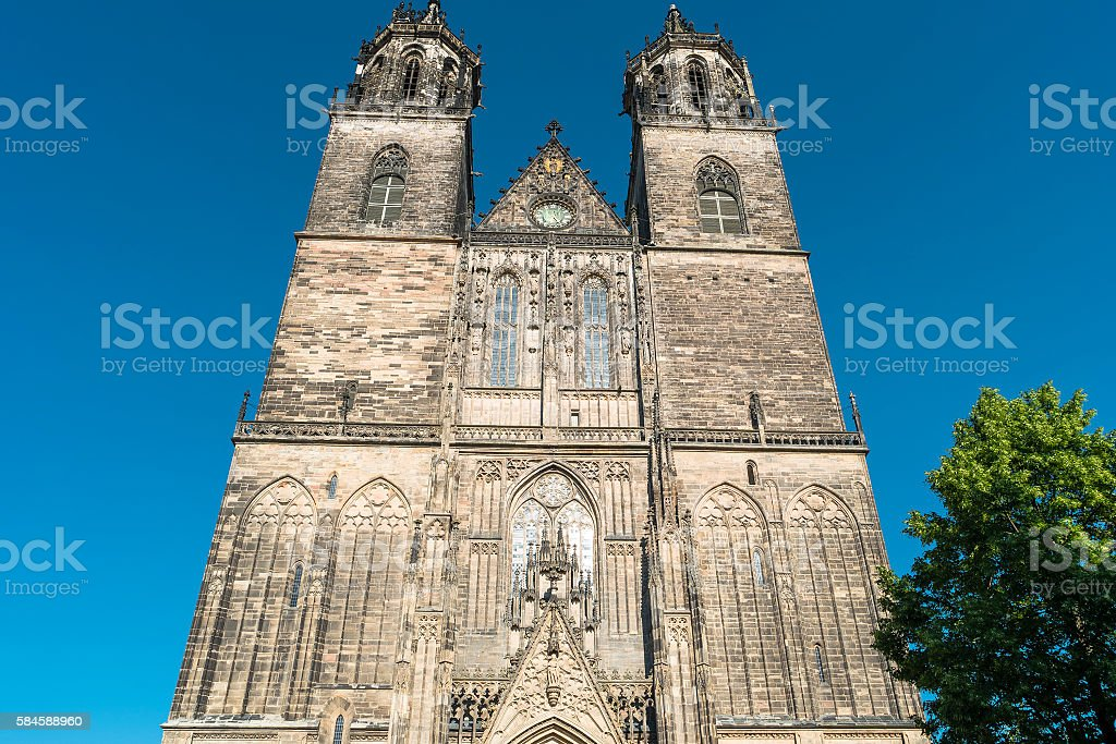 Magnificent Cathedral of Magdeburg at sunset, Germany stock photo