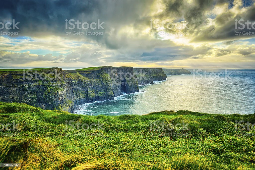 Magnificent Cliffs of Moher, Ireland in winter stock photo