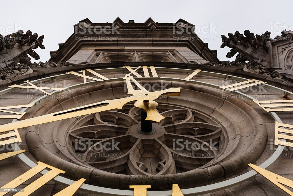 Magnificent clock of the Arras belfry stock photo