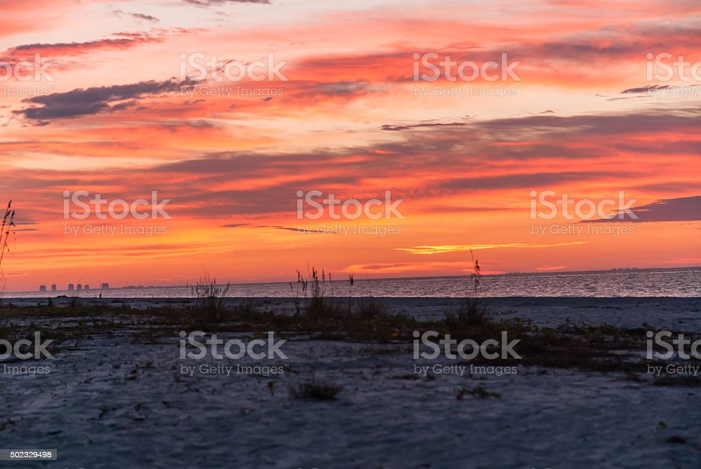 Magnificent Colors at Sunrise on Beach stock photo