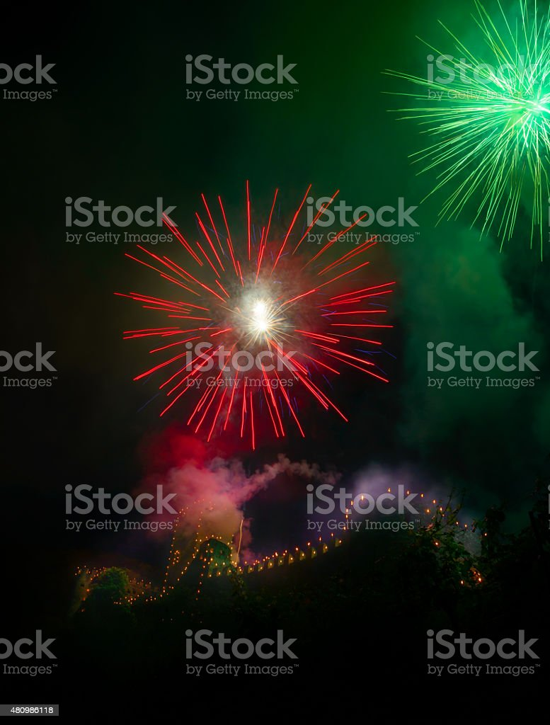 Magnificent fireworks in the Wachau stock photo