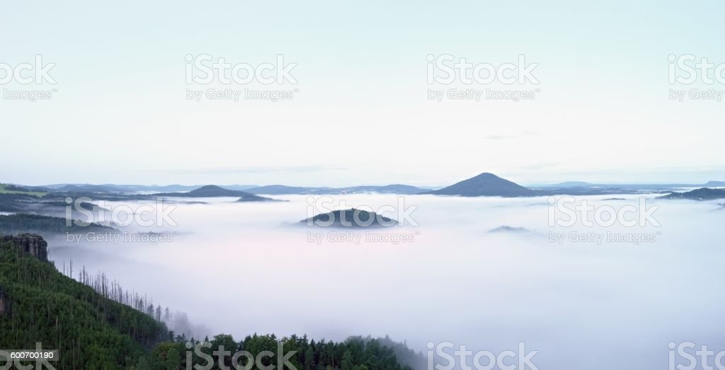 Magnificent heavy mist in landscape. Autumn creamy fog in countryside stock photo