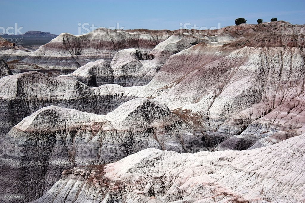 Magnificent hill in Blue Mesa Petrified Forest National Park, Arizona stock photo