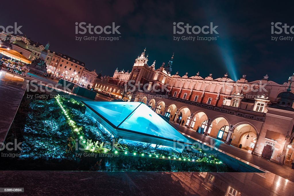 Magnificent Krakow at Night stock photo