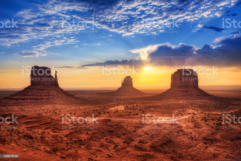 Magnificent landscape view of Monument Valley at sunset stock photo