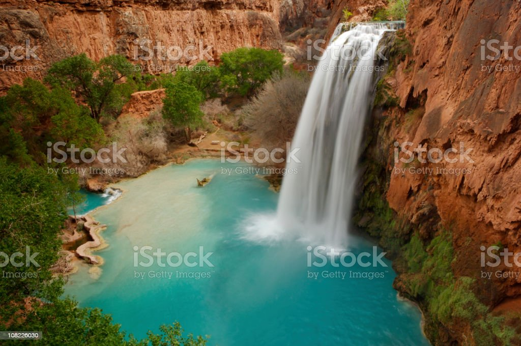 Magnificent long exposure picture of Havasu Falls stock photo