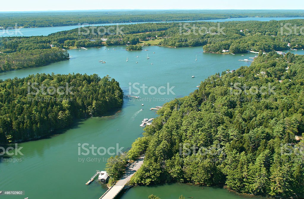 Magnificent Maine coastline, aerial view stock photo