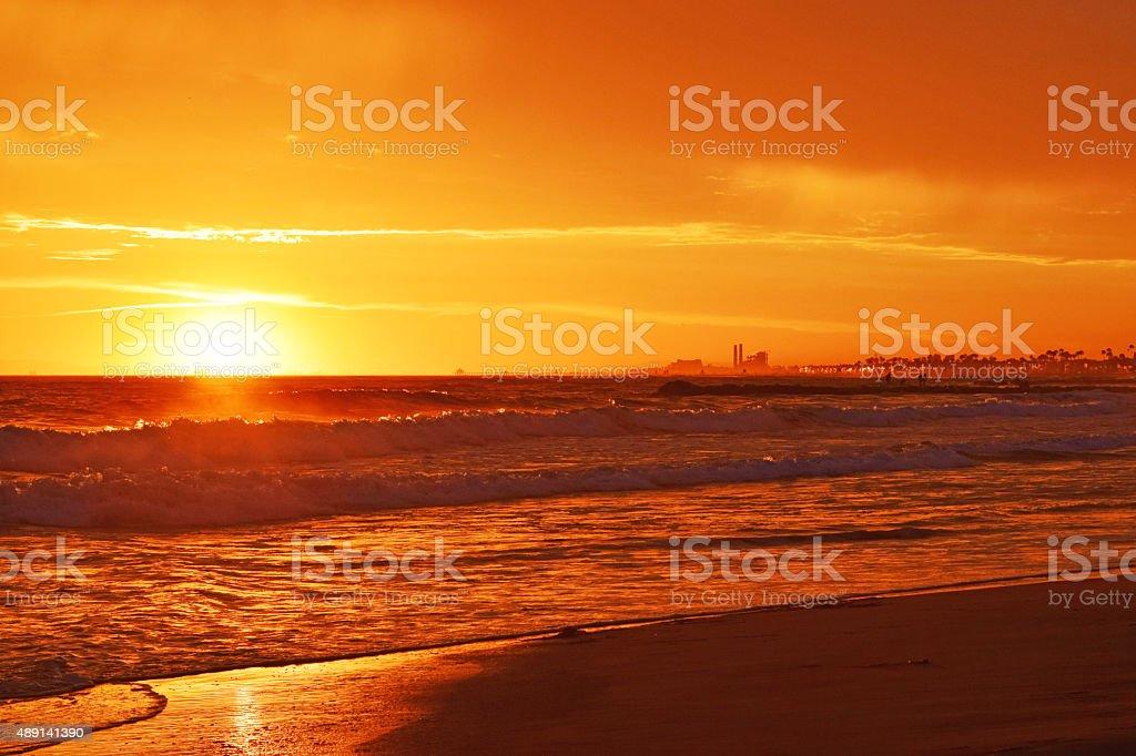 Magnificent Orange Red Newport Beach Summer Sunset stock photo
