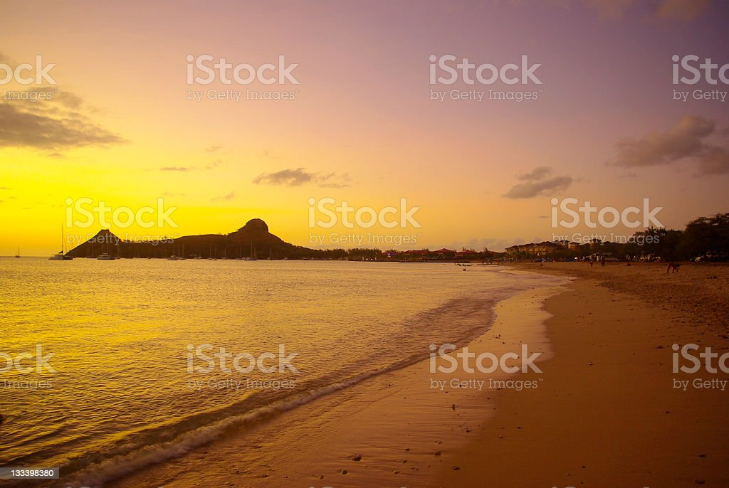 magnificent Pigeon Island St Lucia at sunset stock photo