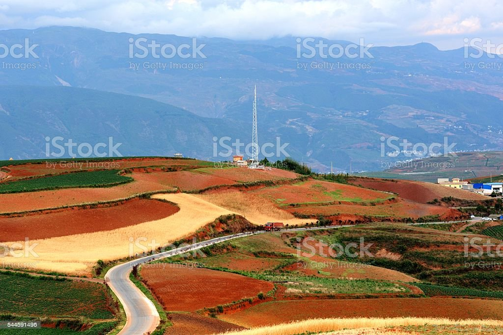 Magnificent Red land in China's Yunnan 006 stock photo