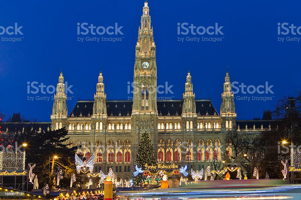 Magnificent Vienna City Hall at night during Christmas royalty-free stock photo