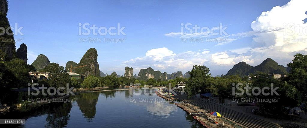 Magnificent View from Yulong river near Yangshuo, Guilin, South China. stock photo