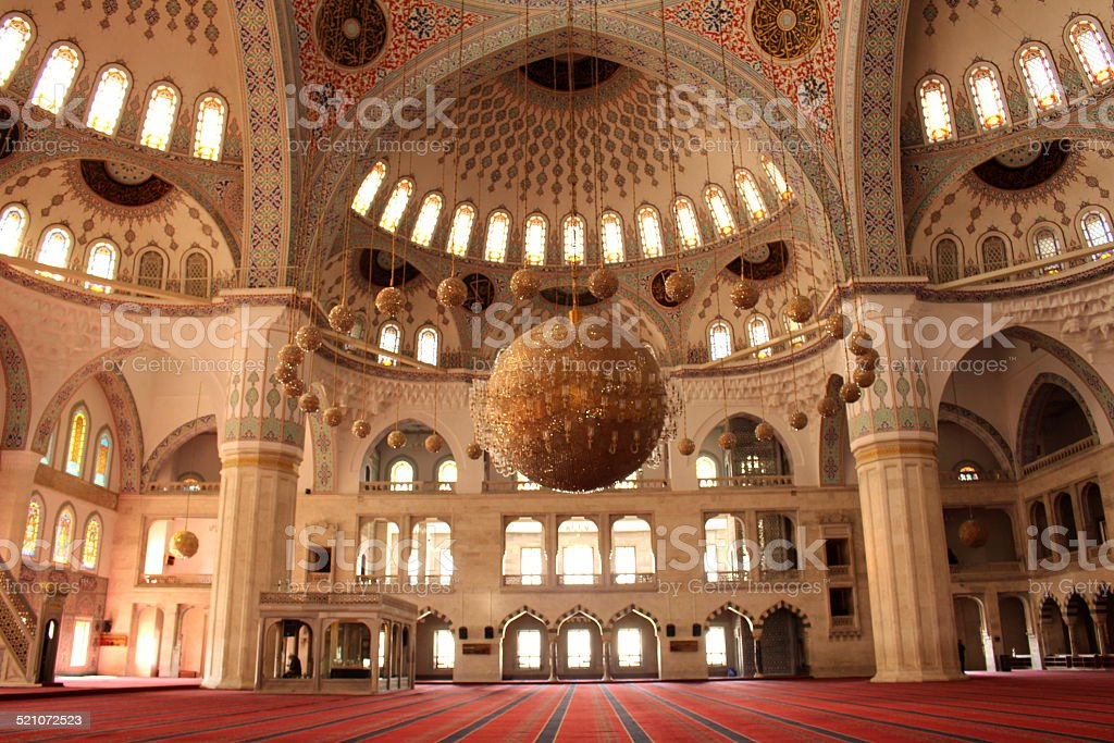 Magnificent View of a Mosque Interior stock photo
