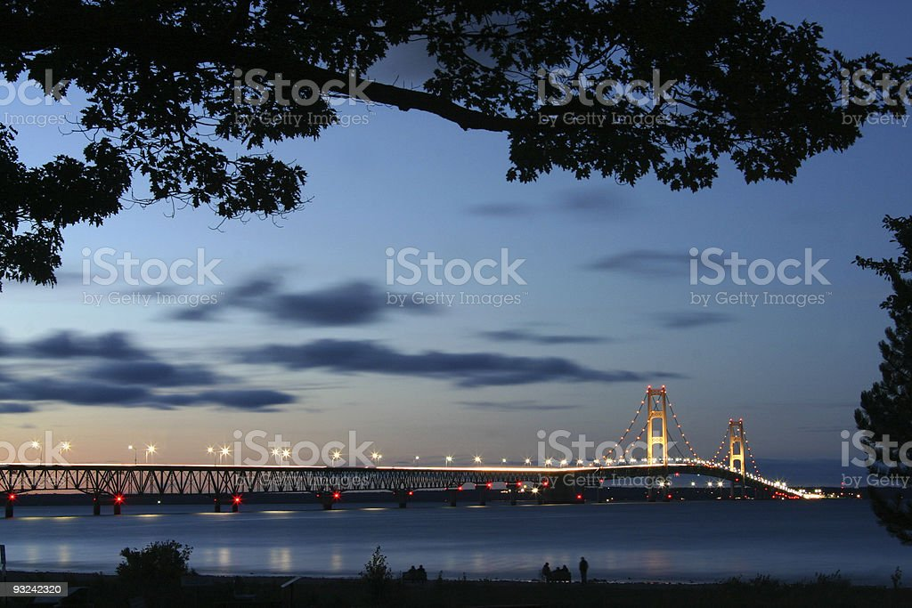 Magnificent view of Mackinaw Strait at dawn stock photo