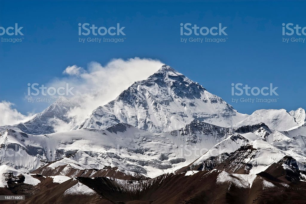 Magnificent view of Mount Everest in cloudless clear sky royalty-free stock photo