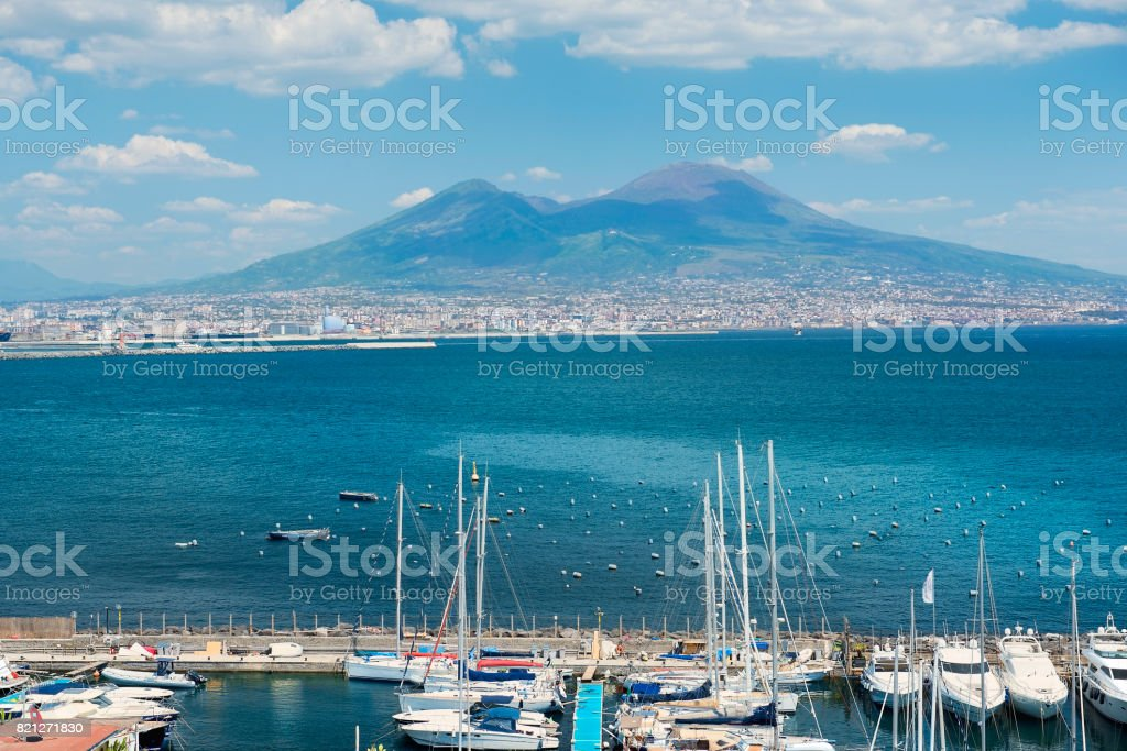 magnificent view of Mount Vesuvius, Gulf of Naples, Italy stock photo