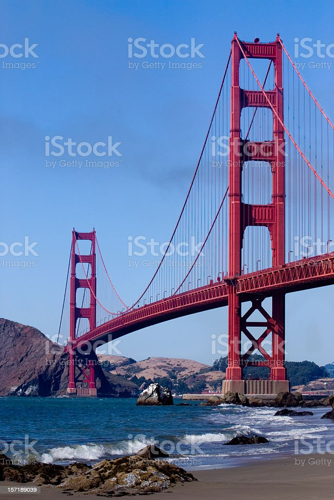 Magnificent view of the Golden Gate Bridge from Baker Beach royalty-free stock photo