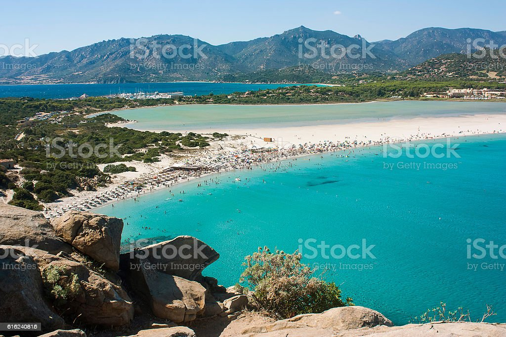 Magnificent view on famous beach Villasimius in Sardinia, Italy. stock photo