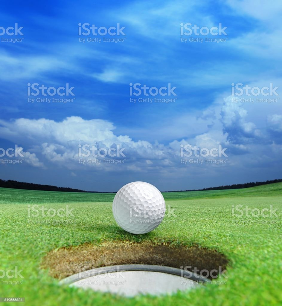 Magnificent views of the golf course stock photo