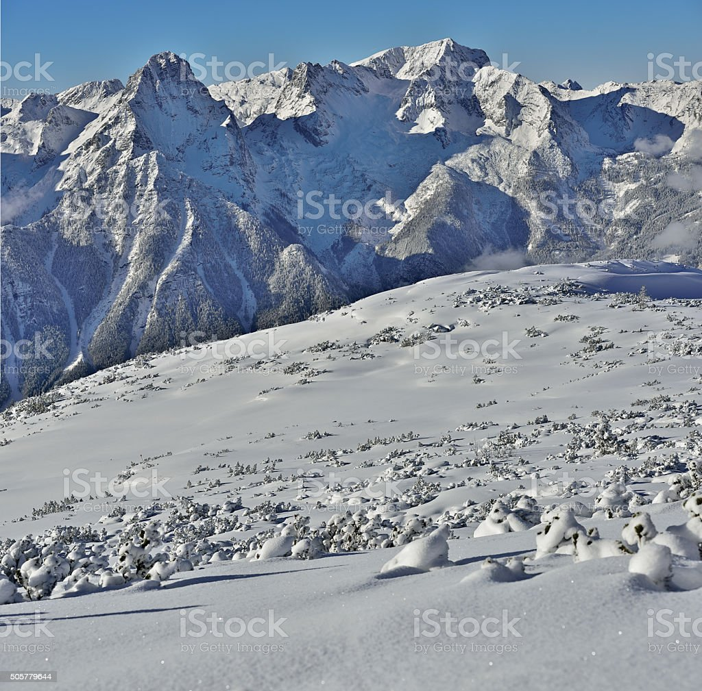Magnificent winter landscape with Spitzmauer and great Priel stock photo