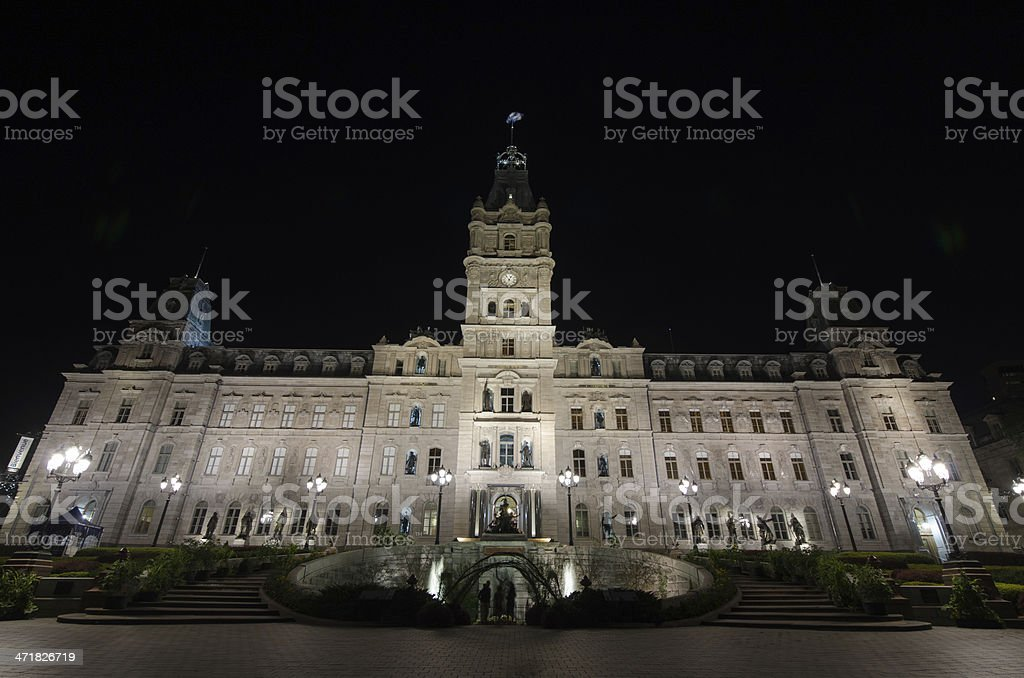 Magnificient Quebec Parliament by night, Canada royalty-free stock photo