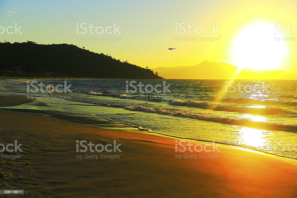 Magnifico sunset over the seacoast. stock photo