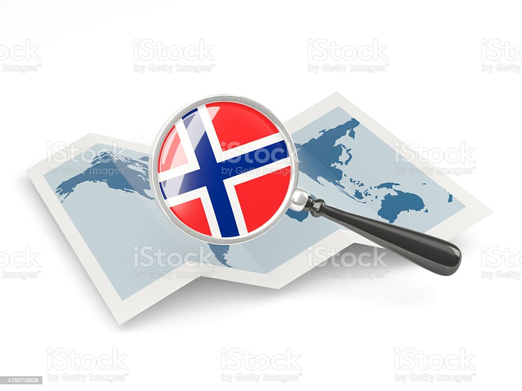 Magnified flag of norway with map stock photo