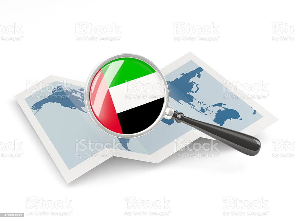 Magnified flag of united arab emirates with map stock photo
