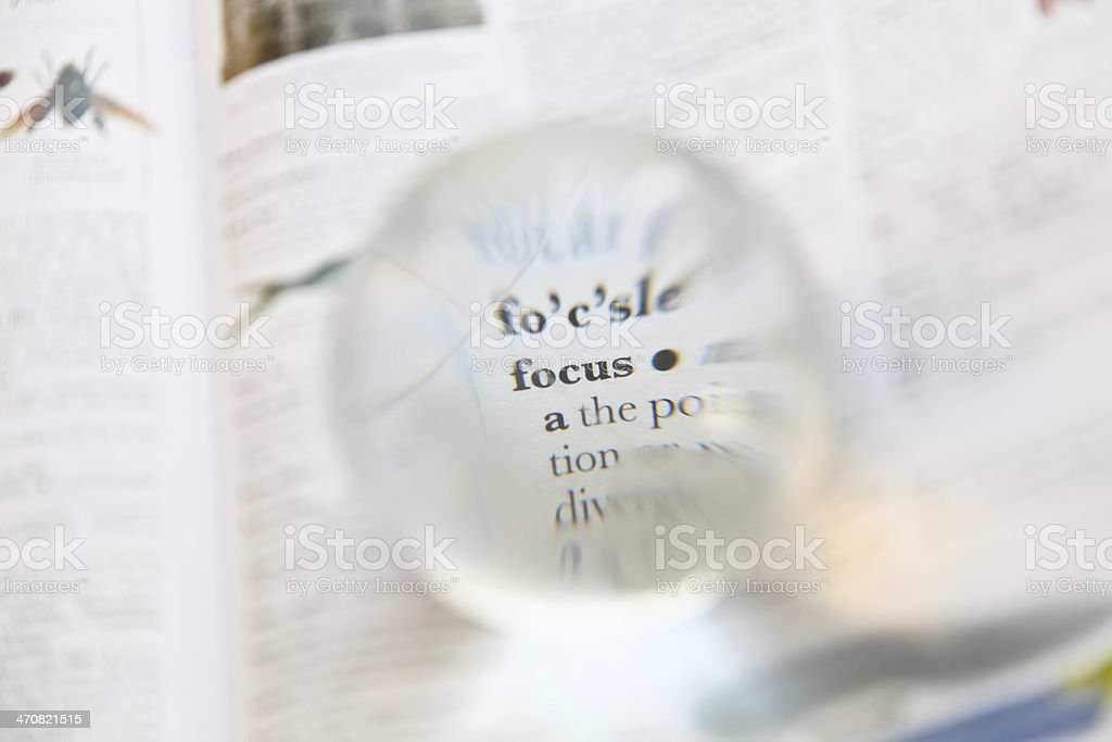 Magnified on focus word stock photo