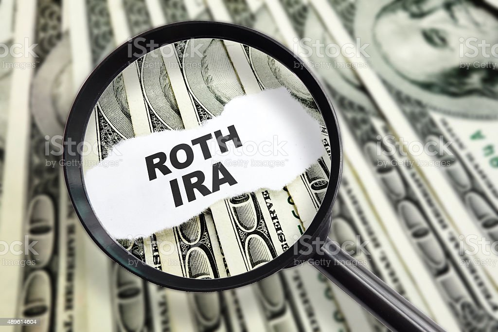 Magnified Roth IRA stock photo