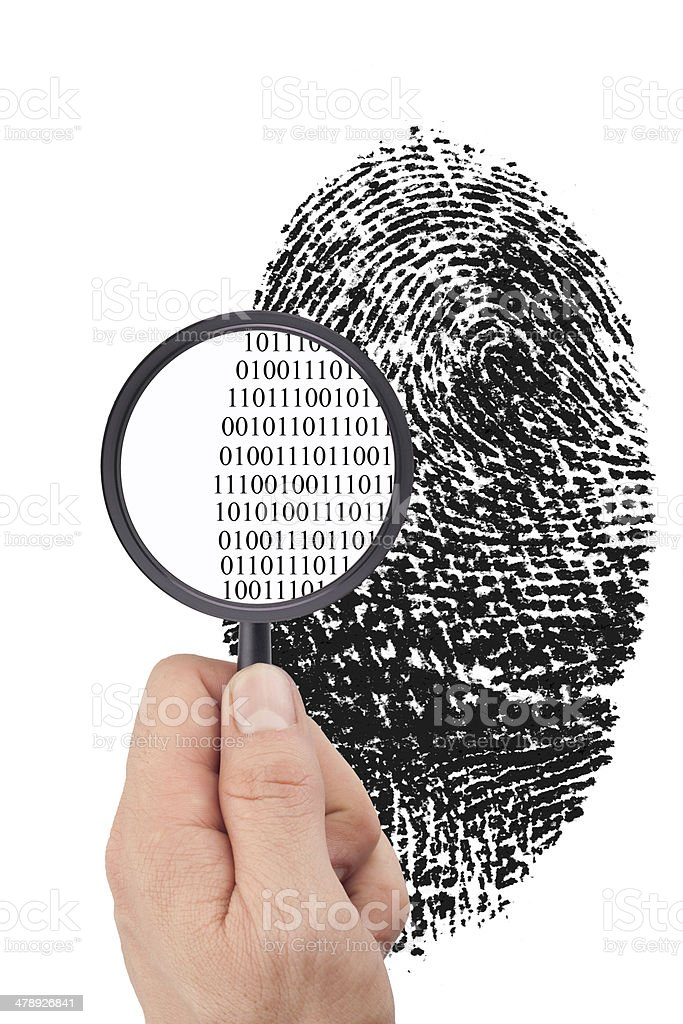 Magnified to Binary Code stock photo