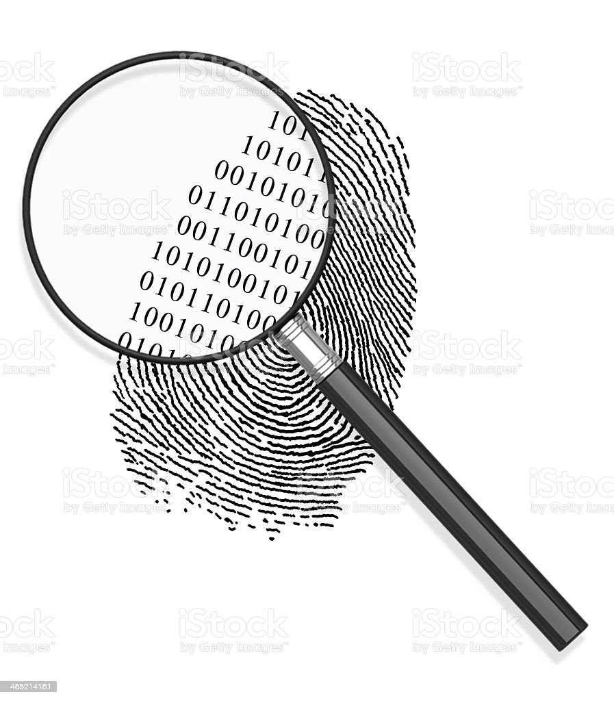 Magnified to Fingerprint stock photo