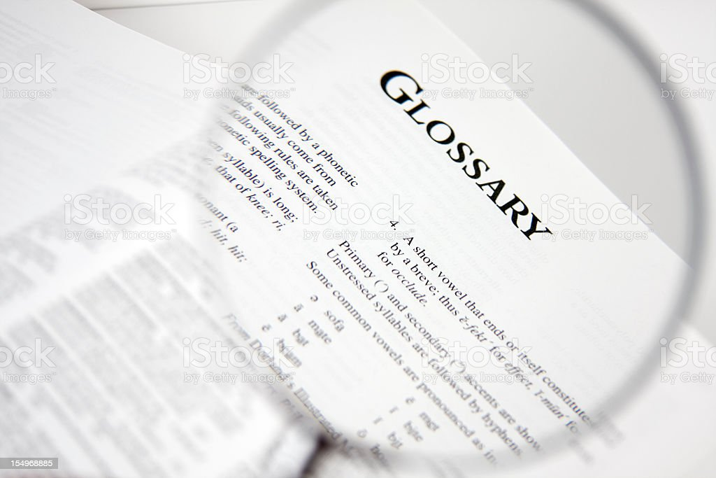 Magnified view of glossary law in a book stock photo