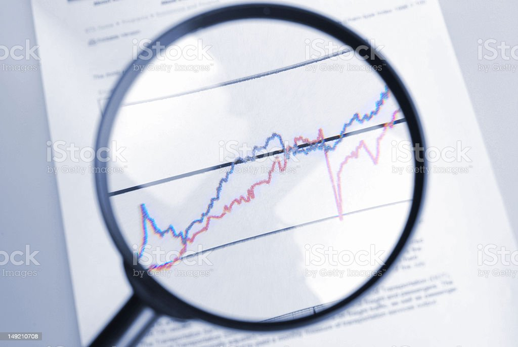 magnifier and curve chart royalty-free stock photo