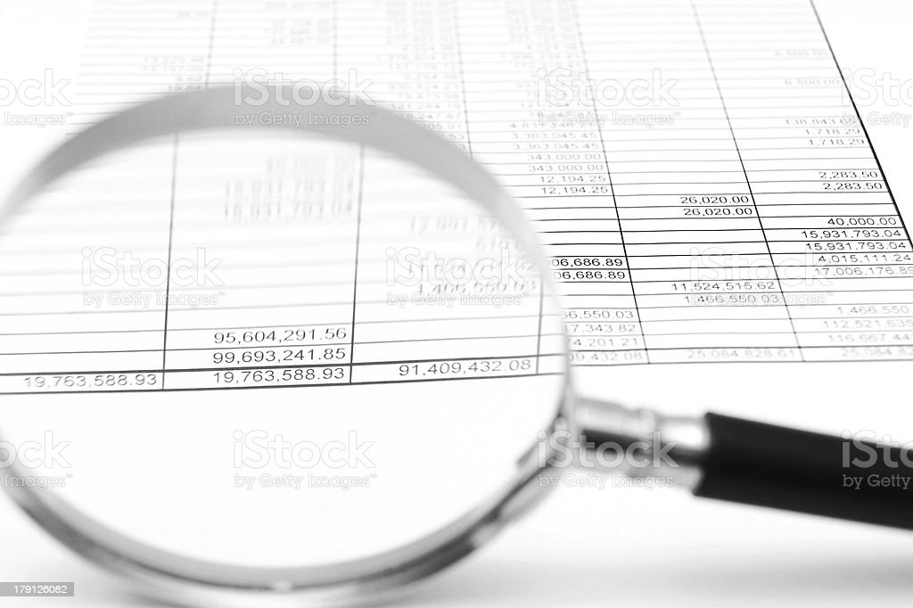 Magnifier and documents. royalty-free stock photo