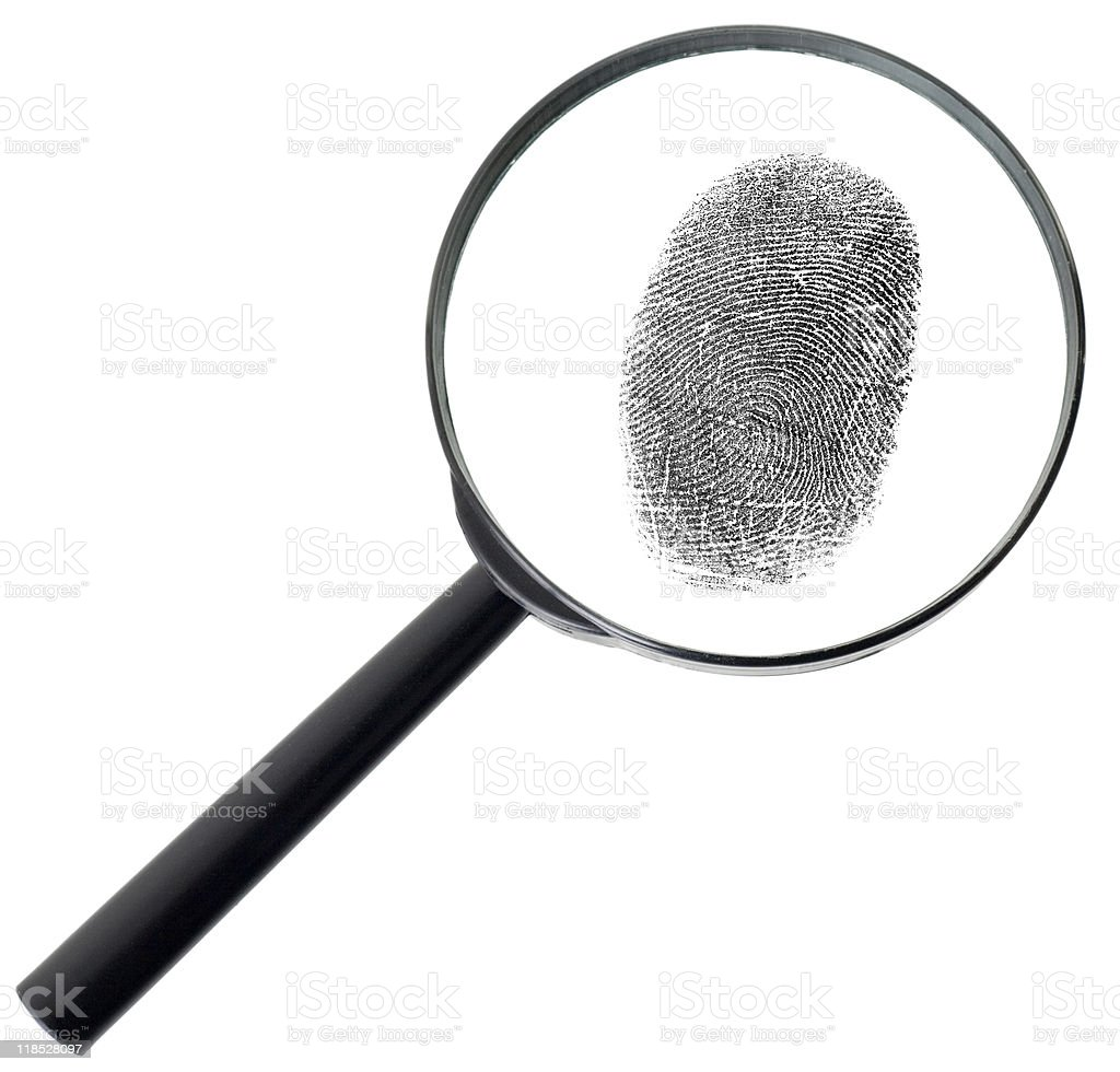 Magnifier and fingerprint isolated on white royalty-free stock photo