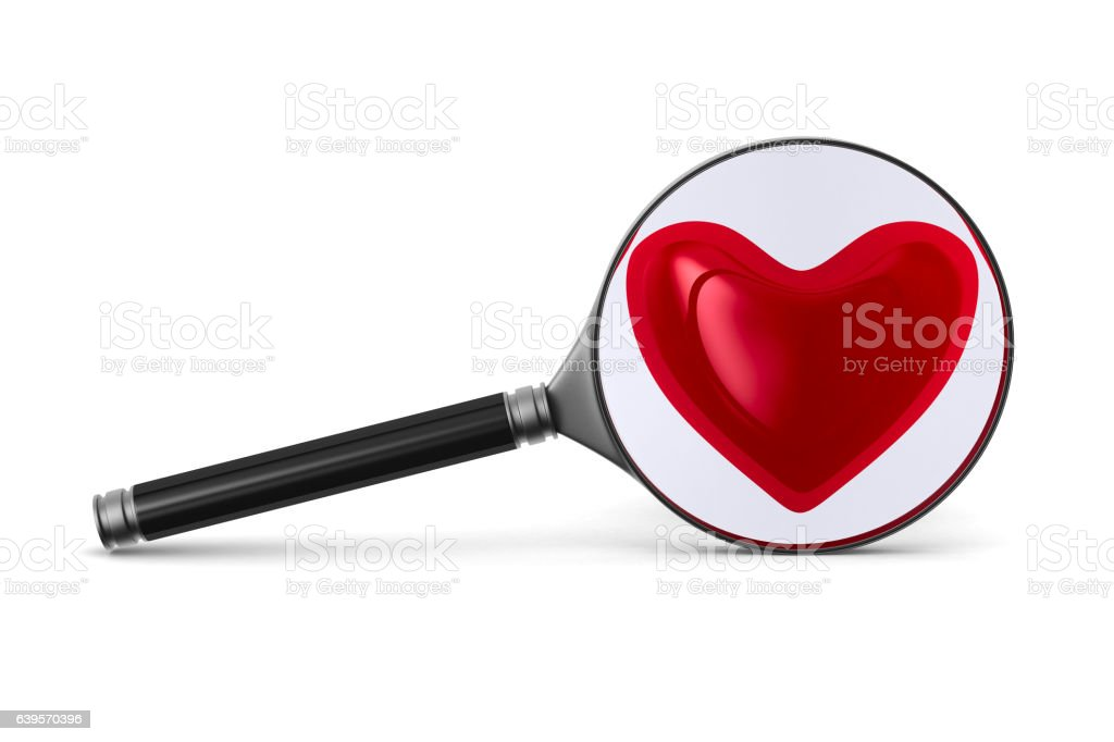 Magnifier and heart on white background. Isolated 3D image stock photo