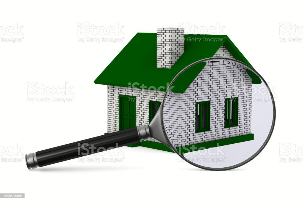 Magnifier and house on white background. Isolated 3D image vector art illustration