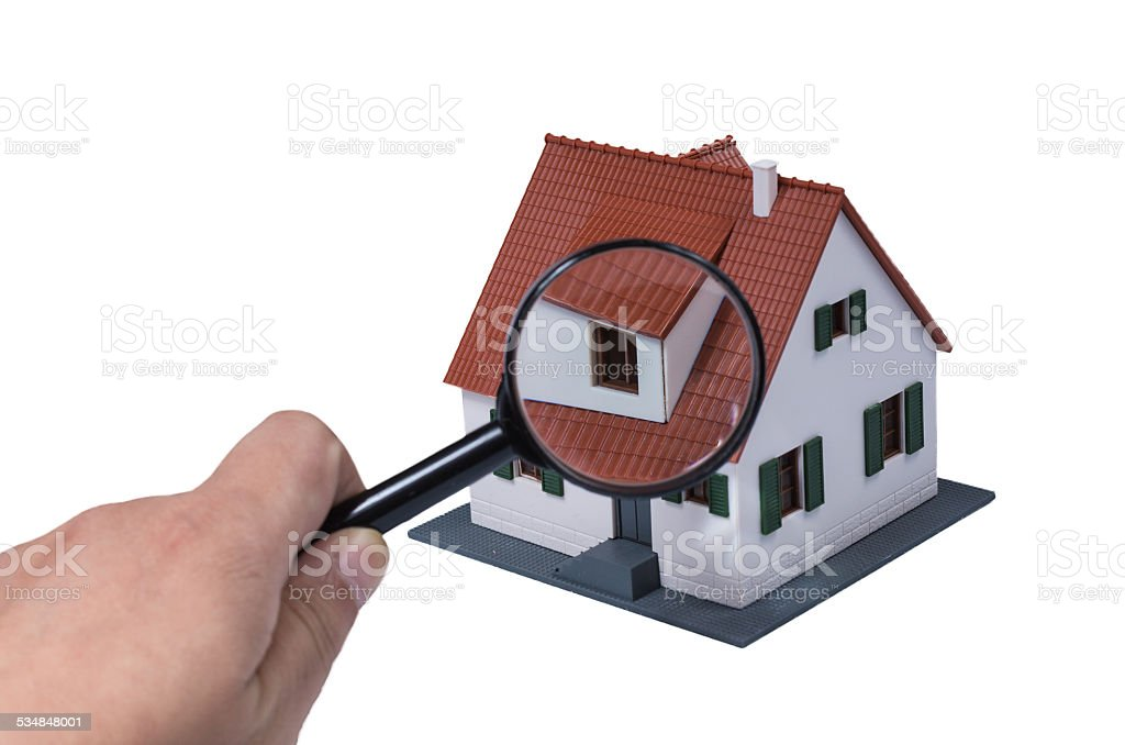magnifier and house(Clipping path included) stock photo