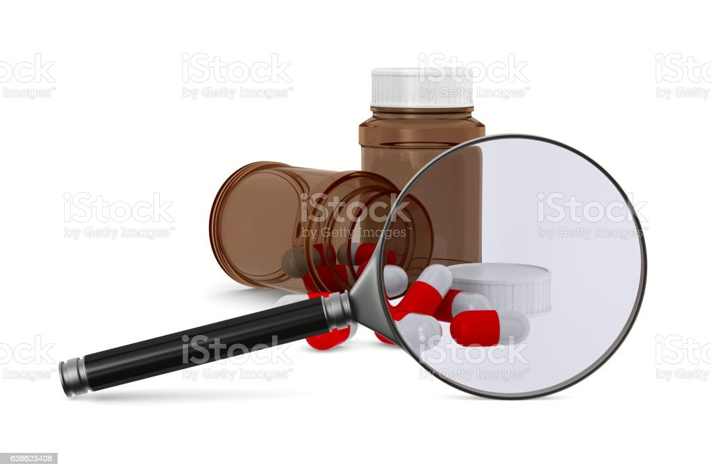 Magnifier and medecine on white background. Isolated 3D image vector art illustration
