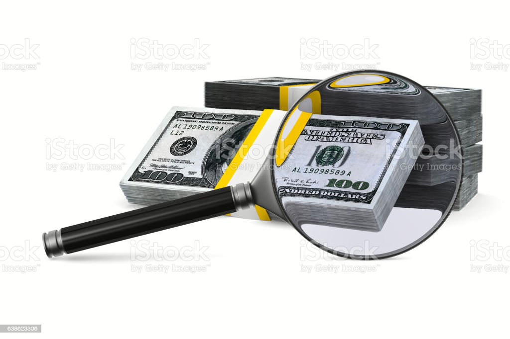 Magnifier and money on white background. Isolated 3D image vector art illustration