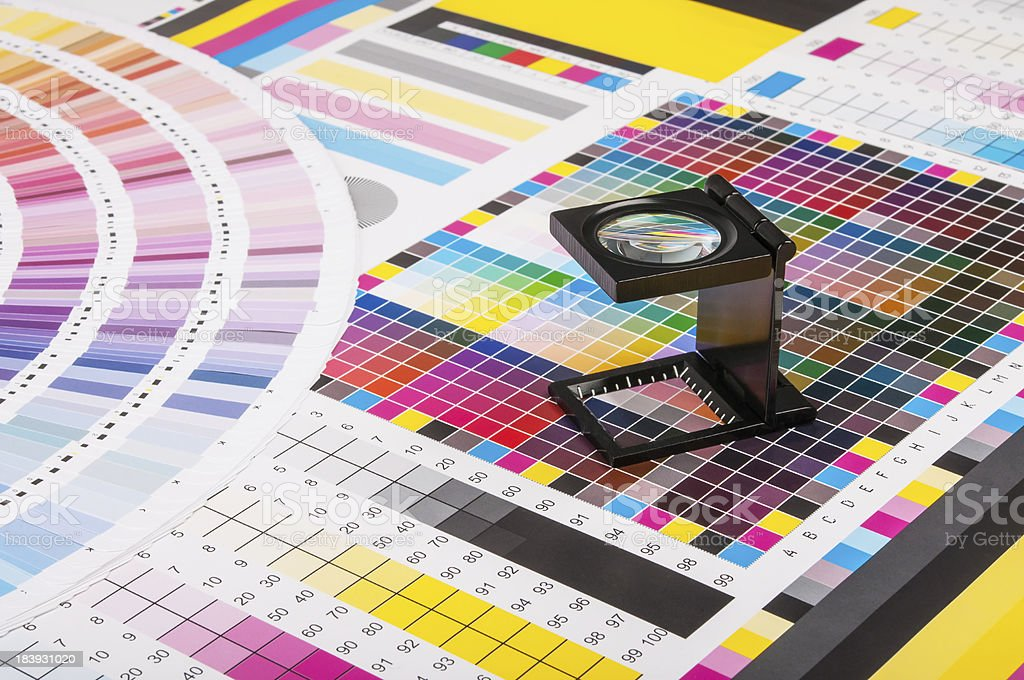 Magnifier and test print stock photo