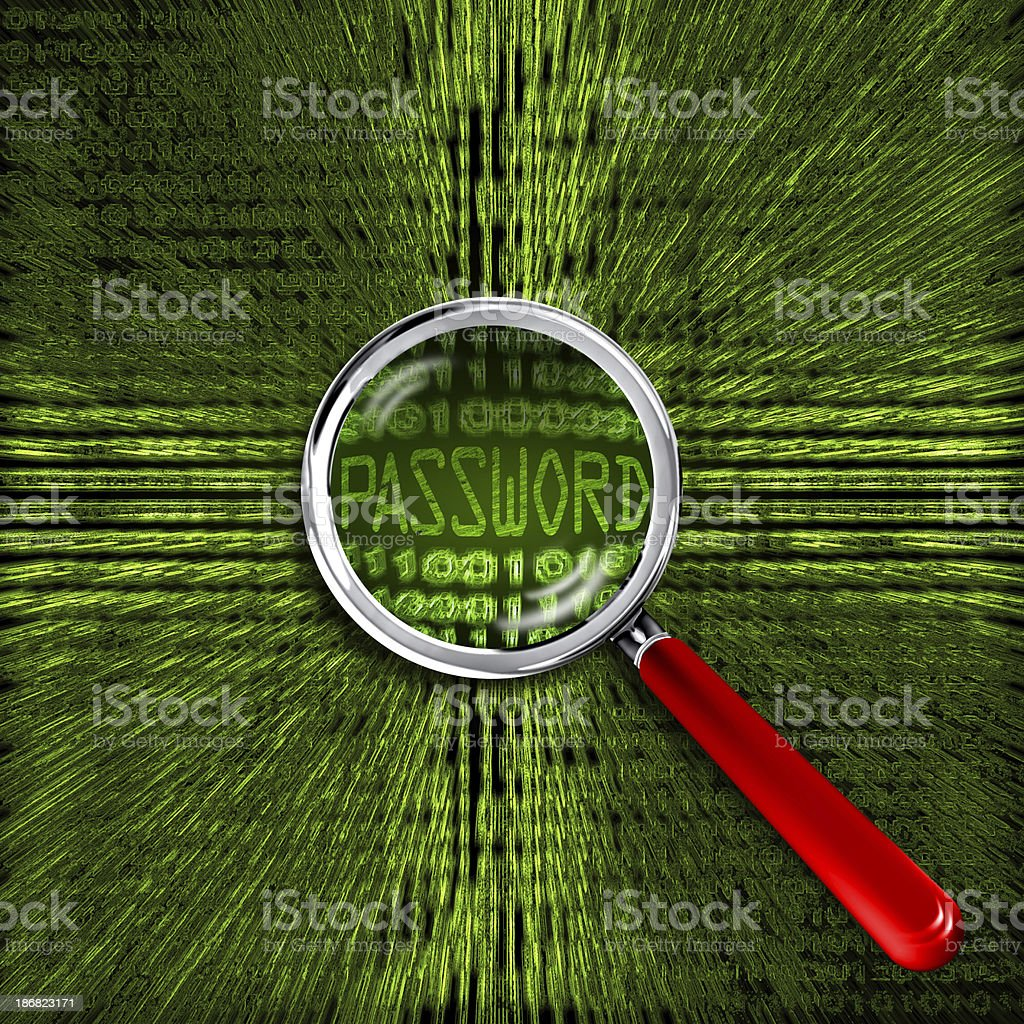 Magnifier Glass on the password royalty-free stock photo